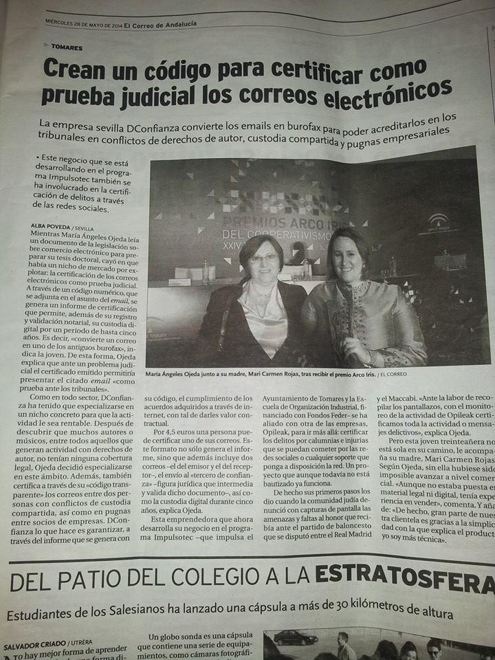 Artículo del Correo de Andalucía sobre DConfianza